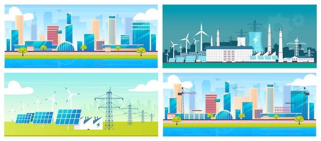 Nachhaltige energie und architektur flache farben gesetzt. umweltfreundliche elektrische stationen und städte 2d-cartoon-landschaften. alternative kraftwerke, metropole und baustelle