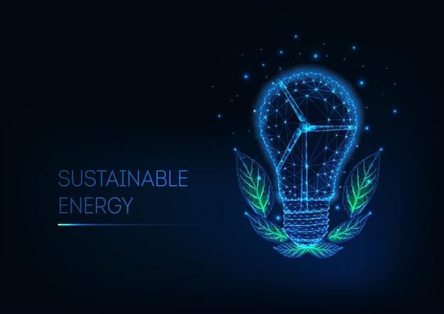 Nachhaltige energie-vorlage mit futuristischen niedrigen polylight-lampe, windmühle turbine und grünen blättern.