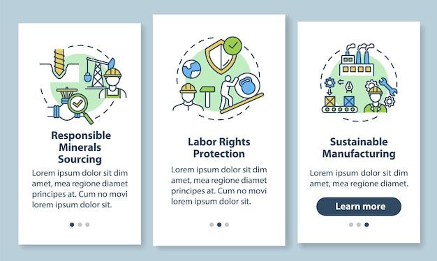 Nachhaltige fertigung onboarding mobile app seitenbildschirm mit konzepten. verantwortliche unternehmensanleitung schritte grafische anweisungen. ui-vorlage mit rgb-farbabbildungen