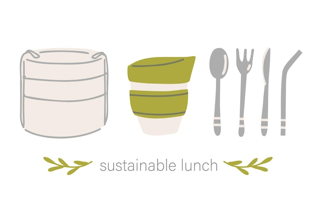 Nachhaltige lunch-conrainer, kaffeetasse und besteck. nachhaltige küche und zero waste lifestyle. öko-lebenskonzept. vektor-cartoon-illustration.