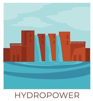 Nachhaltige und erneuerbare natürliche ressourcen, wasserkraft zur nutzung von wasser und zur stromerzeugung. mit umweltfreundlichen alternativen, station zum ansammeln von energie, vektor in flacher illustration