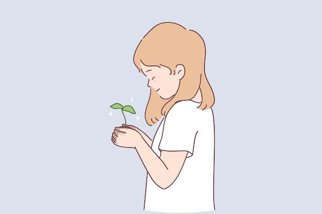 Nachhaltiger lebensstil, ökologische konversation, illustration des naturkonzepts