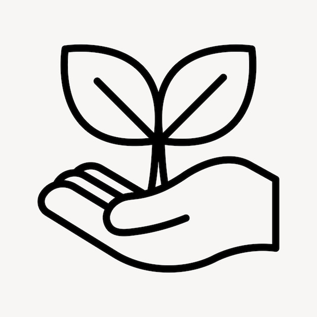 Nachhaltiger pflanzengeschäftsikonenvektor in einfacher linie