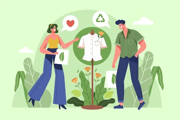 Nachhaltiges modekonzept der flachen designillustration