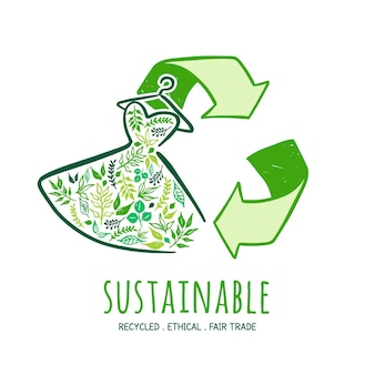 Nachhaltiges modekonzept des flachen designs
