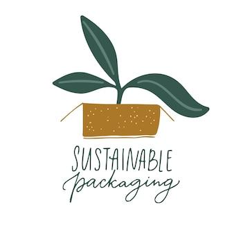 Nachhaltiges verpackungszeichen. handgeschriebenes etikettendesign für umweltfreundliche verpackung. kleine pflanze, die in papierkasten wächst.