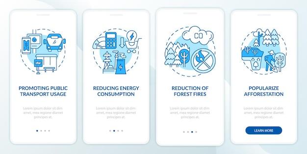 Nachhaltigkeitsinitiativen beim onboarding des seitenbildschirms der mobilen app. walkthrough für öffentliche verkehrsmittel in 4 schritten, grafische anweisungen mit konzepten. ui-, ux-, gui-vektorvorlage mit linearen farbillustrationen