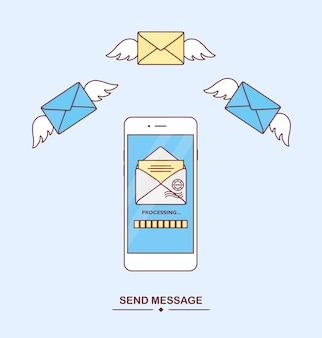Nachricht senden, mit telefon empfangen. mail-benachrichtigung. zustellung von nachrichten, sms. neuer eingehender brief. smartphone mit sms-anwendung. fliegender umschlag. mobile messenger-konzept