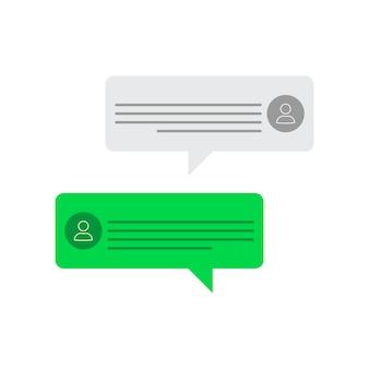 Nachrichten auf dem bildschirm - avatare der person - messaging-oberfläche