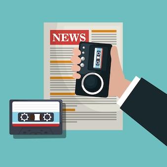 Nachrichten kassettenrecorder kassette grafik