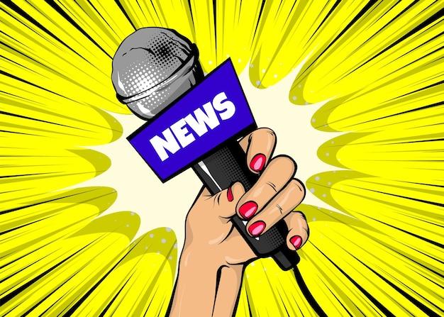 Nachrichten-sänger comic-text-sprechblase frau pop-art-stil mode mädchen hand halten mikrofon cartoon