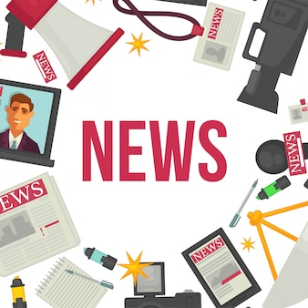 Nachrichten und presseelemente. zeitung, professionelle kamera