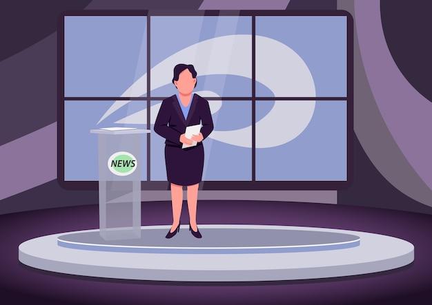 Nachrichtenanalyse flache farbabbildung. weibliche nachrichtensprecherin, expertin, professionelle moderatorin 2d-zeichentrickfigur mit studio auf hintergrund.