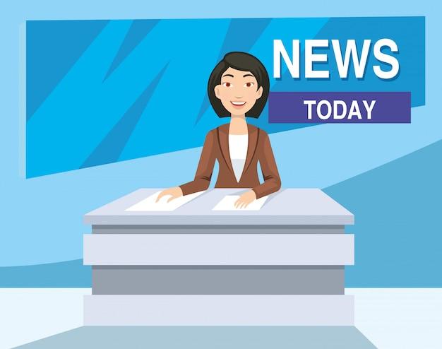 Nachrichtenankermädchen auf den fernsehnachrichten heute im studio