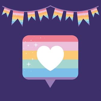 Nachrichtenblase mit stolz lgbtq farbe, ein herz in der mitte davon und eine girlande auf einem lila hintergrund