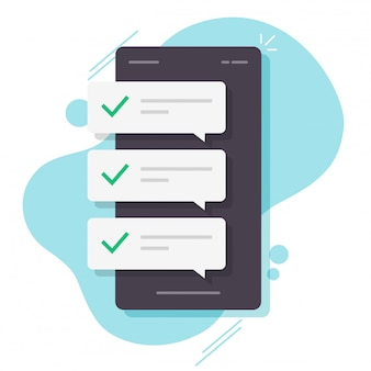 Nachrichtenblasenbenachrichtigungen mit häkchen auf dem mobiltelefon