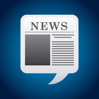 Nachrichtendesign über blauer hintergrundvektorillustration