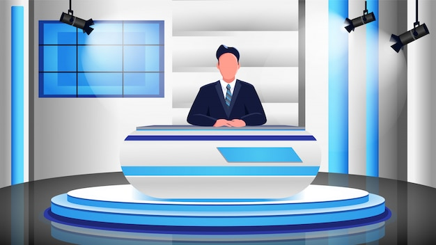 Nachrichtenprogramm flache farbabbildung