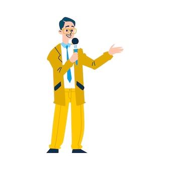 Nachrichtenreportermann, der auf mikrofon spricht - zeichentrickfilm-nachrichtensprechercharakter, der gelben anzug und brille auf weißem hintergrund, illustration trägt