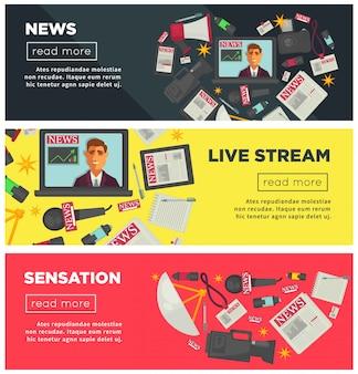 Nachrichtensensation und live-stream-werbe-internet-banner gesetzt