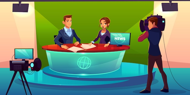 Nachrichtensprecherteam live-übertragung cartoon.