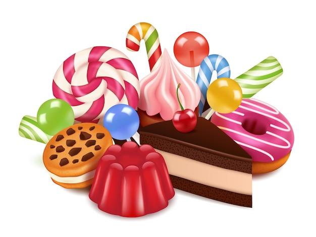 Nachspeisen. hintergrund mit selbst gemachten kuchen, pralinenlutscher und bonbons. hochauflösende bilder von leckeren desserts