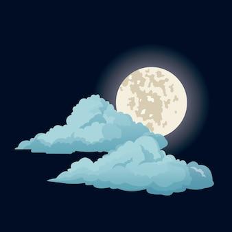 Nacht himmel mond wolken