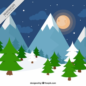 Nacht hintergrund der berge und kiefern