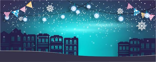 Nacht hintergrund. winter in der stadt.