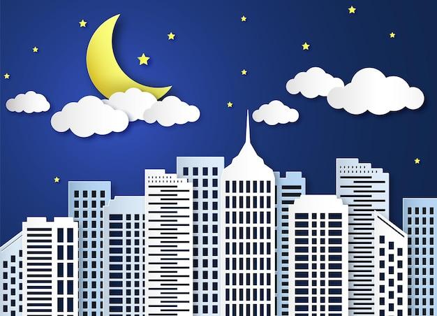 Nacht in papierstadtdesignillustration