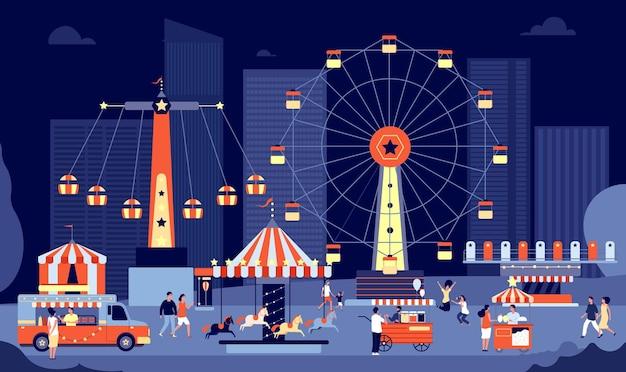 Nacht markt. nachtmesse, menschenmenge im freien, die zu fuß isst.
