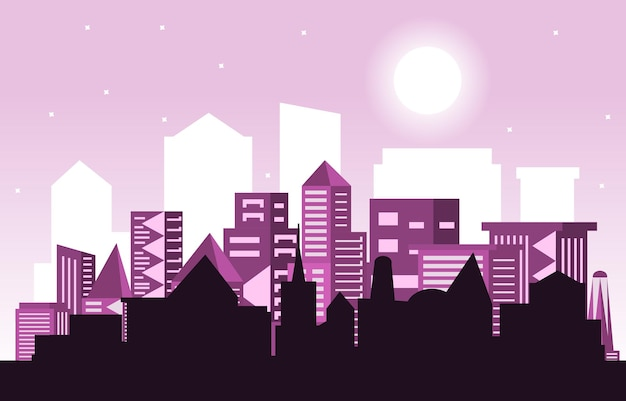 Nacht mond moderne stadt wolkenkratzer gebäude stadtbild skyline illustration