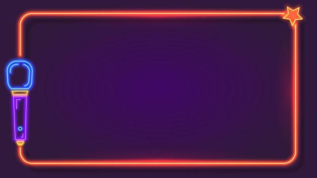 Nacht-neon-karaoke-rahmen für songtexte mit mikrofon. musik-bar-club-sänger-party-show-stand. karaoke-zeichen-text-grenze-vektor-vorlage. livemusik im festival, restaurant oder café