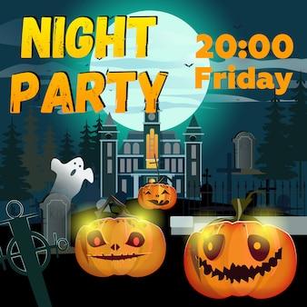 Nacht party schriftzug mit kürbissen, schloss und friedhof