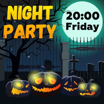 Nacht party schriftzug mit kürbissen und friedhof