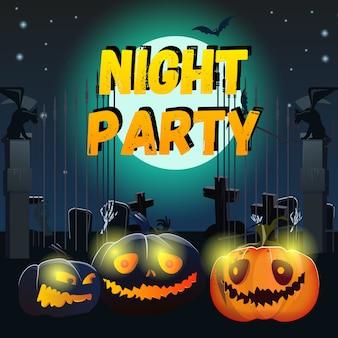Nacht party schriftzug mit lächelnden kürbissen und friedhof