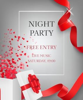 Nacht party schriftzug mit offener geschenkbox