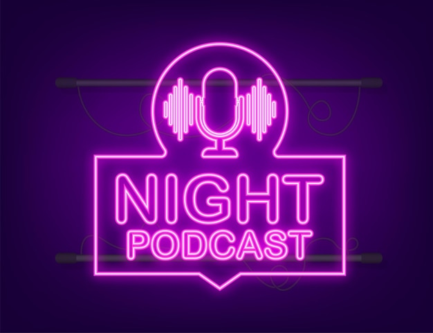 Nacht-podcast-neon-symbol, vektorsymbol im flachen isometrischen stil isoliert auf weißem hintergrund. vektorgrafik auf lager.