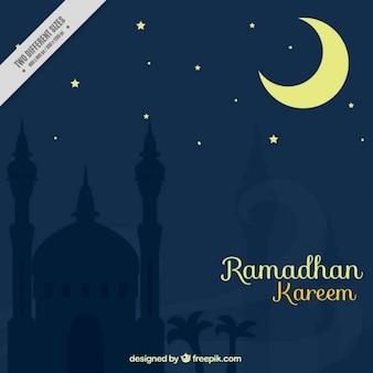 Nacht ramadan hintergrund mit mondsichel