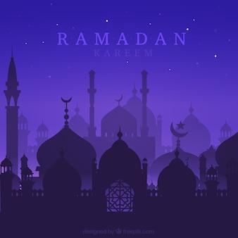 Nacht ramadan hintergrund mit silhouetten
