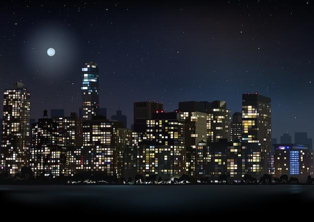 Nacht skyline der stadt