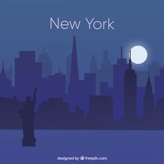 Nacht skyline von new york