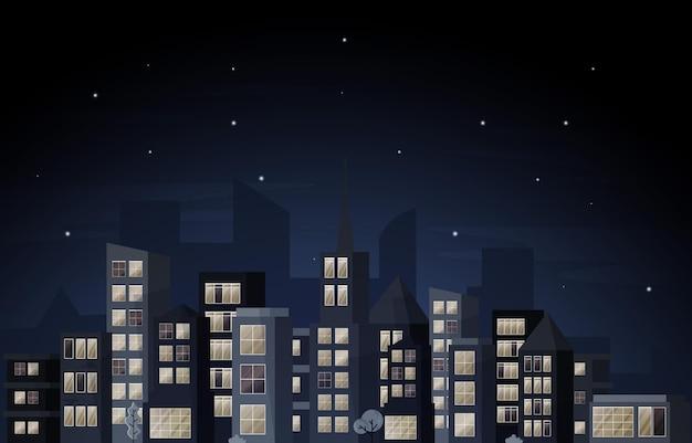 Nacht-stadt-städtisches wolkenkratzer-gebäude-stadtbild-ansicht-flaches design-illustration