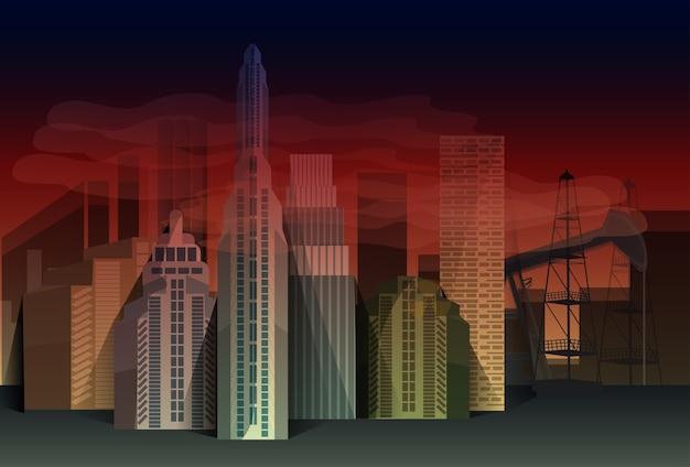 Nacht stadt wolkenkratzer ansicht natur verschmutzung