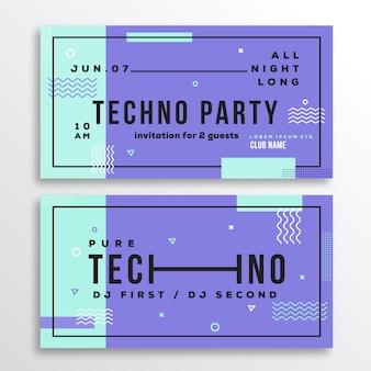 Nacht techno party club einladungskarte oder flyer vorlage.