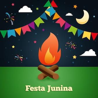 Nacht traditionelle festa junina hintergrund