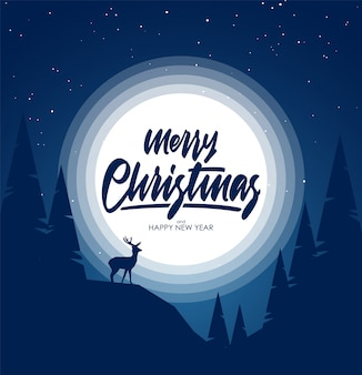 Nacht winter schneelandschaft mit hügeln, kiefer und silhouette von hirschen. fröhliche weihnachten