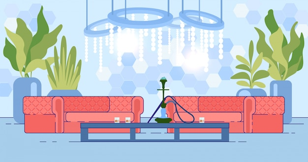 Nachtclub-interieur mit sofa und wasserpfeife auf dem tisch