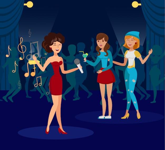 Nachtclub, karaoke party flat illustration