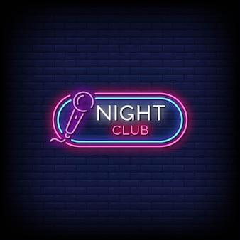 Nachtclub logo neonschilder stil text